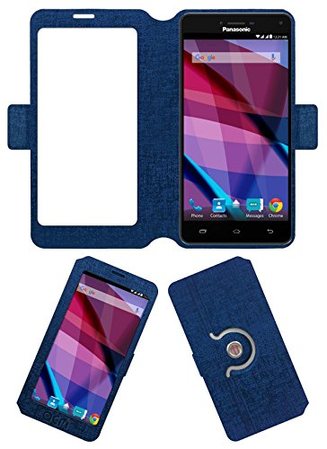 Acm SVIEW Window Designer Rotating Flip Flap Case for Panasonic Eluga Icon 2 Mobile Smart View Cover Stand Blue