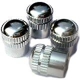 PRESKIN - 4 PREMIUM Tapas de válvulas de coches (latón + cromado) Valve Caps BigGROOVE casquillos de válvula