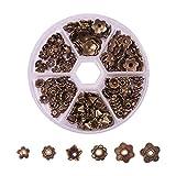 PandaHall Elite 180PCS Coppette Copriperla Perline fione per Bigiotteria in Lega Stile Tibetano Bronzo Antico Accessori componenti di Gioielli 6 Dimensione