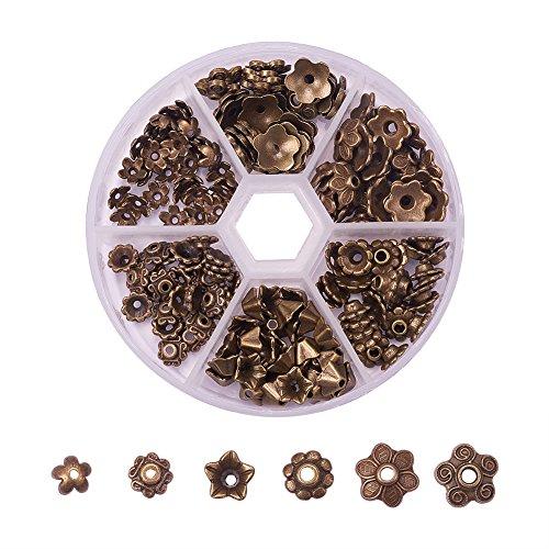 PandaHall Elite 180 Stück in 1 Box 6 Verschiedene Form tibetischen Stil Bead Enden Blumen Bead Caps für Schmuck Machen, antike Bronze -