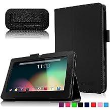 """Infiland Folio PU Cuero Funda Cascara Delgada con Soporte para Alldaymall A88X- Tablet de 7"""" pulgadas, Trimeo 7 Pulgadas Tablet, Arespark ultrafino Tablet de 7 pulgadas,Rotor® Tablet de 7 pulgadas,Trimeo Win - 17.8 cm (7 pulgadas) Tablet, DUO 7 pulgadas Bluetooth HD 1024X600 Tablet PC ,Yuntab Q88 Tablet de 7''(Negro)"""