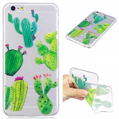iPhone 6 Plus Hülle, iPhone 6S Plus Hülle, iPhone 6 Plus / iPhone 6S Plus Crystal Case, iPhone 6 Plus / 6S Plus Silikon Hülle, iPhone 6 Plus / 6S Plus Crystal Clear TPU Transparent Schutzhülle, BONROY Kaktus