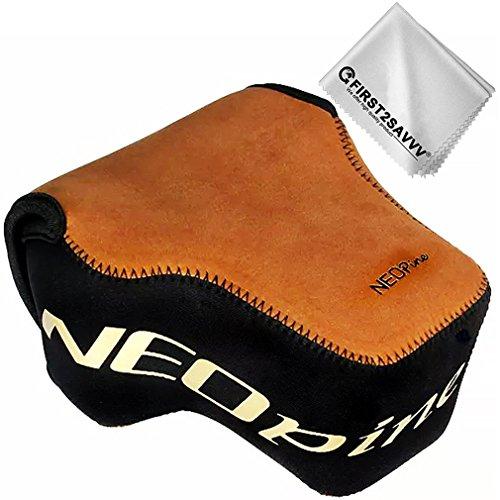 First2savvv braun Flexible Neopren DSLR/SLR Kameratasche für Panasonic Lumix G9 / GH5S / GH5 (12-60mm Lens) + Reinigungstuch
