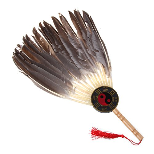 Cold Toy Alte Chinesische Zhuge Liang Black Feather Hand Fan Bambus Fan Dekoration Tanz