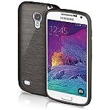 Samsung Galaxy S4 Mini | Hülle Silikon Schwarz [OneFlow Brushed Back-Cover] TPU Schutzhülle Ultra-Slim Handyhülle für Samsung Galaxy S4 Mini Case Dünn Silikonhülle Rückseite Tasche