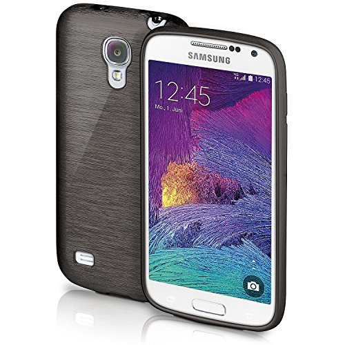 Samsung Galaxy S4 Mini Hülle Silikon Schwarz [OneFlow Brushed Back-Cover] TPU Schutzhülle Ultra-Slim Handyhülle für Samsung Galaxy S4 Mini Case Dünn Silikonhülle Rückseite Tasche