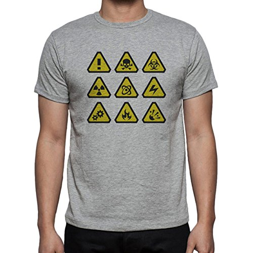 Danger Sign Warning Caution Nine Herren T-Shirt Grau