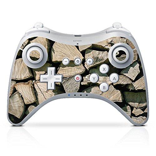 Preisvergleich Produktbild Nintendo Wii U Pro Controller Case Skin Sticker aus Vinyl-Folie Aufkleber Holz Look Holzscheite Baum