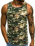 OZONEE Herren Tanktop Tank Top Tankshirt T-Shirt mit Print Unterhemden Ärmellos Camouflage Muskelshirt Fitness Motiv O/2684 GRÜN L