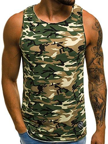 OZONEE Herren Tanktop Tank Top Tankshirt T-Shirt mit Print Unterhemden Ärmellos Camouflage Muskelshirt Fitness Motiv O/2684 GRÜN M