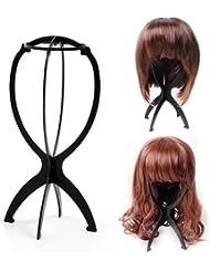 TOOGOO(R) Plastique Perruque Affichage Durable Stable Chapeau Perruque Cheveux Support Cheveux Presentoir - Noir