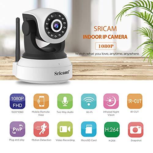 LEMNOI SP017 Telecamera di Sorveglianza Wireless1080P HD IP Camera WiFi/Ethernet con Istruzioni per l'uso App Sricam/DVR/NVR Assistenza in Italiano Compatibile con iOS /Android/Windows PC - 2