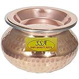 SHIV SHAKTI ARTS Handmade Pure Copper Mughlai Handi With Lid Volume=500 ml