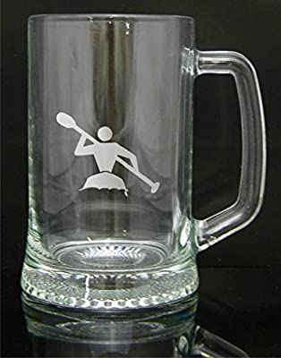 Personalised Engraved Quality Glass Tankard Gift, Kayak Design, Custom Gift, Engraved Free by Phoenix Engraving & Gifts