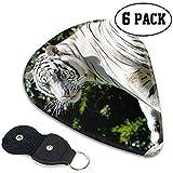 Set regalo per plettri per chitarra con foto di animali di tigre bianca (la confezione da 6 include un supporto medio pesante) con manico in pelle Plettri per Chitarra