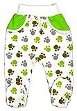 Baby Hose mit Füßchen Unisex Größe 56-86 (74, grün-Pfotenn)