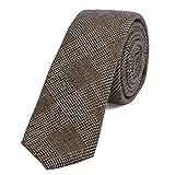DonDon Herren Krawatte 6 cm Baumwolle braun-schwarz kariert