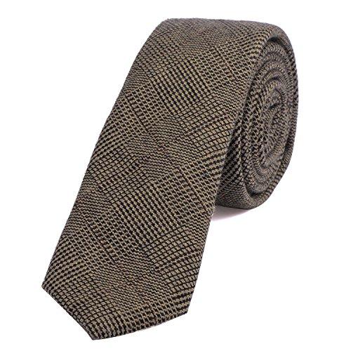 DonDon Corbata estrecha de algodón para hombres de 6 cm - marrón negro a cuadros escoceses