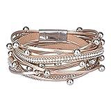 Daawqee Bracelets pour Femme, Multilayer Leather Bracelets for Women Femme Crystal...