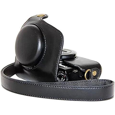 First2savvv XJPT-G7X-01 negro cuerpo completo ajuste preciso de cuero de la PU cámara digital bolsa caso cubierta con correa para Canon PowerShot G7X