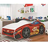 Relita BK2425134 Autobett Car, Holzwerkstoff, rot / weiß, 85 x 172 x 50 cm