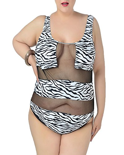 SaiDeng Donne Elegante Costume Reticolata Zebra Leopardo Stampa Un Pezzo Swimwear Zebra L