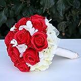 FRI-Collection Meisterfloristik Brautstrauß Biedermeier Seidenblumen Roten Rosen Creme Hortensien #46545