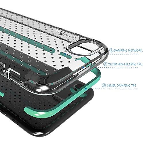 iPhone 8 Hülle,iPhone 7 Hülle, X-Level TPU Fallschutz Schock Handyhülle Schutzhülle für iPhone 7/8(Transparente+Schwarz) Grün