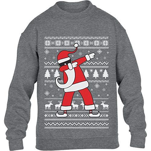Kids Weihnachten Geschenk Dab vom Weihnachtsmann Kinder Pullover Sweatshirt L 134/146 Grau (Weihnachten Pullover Kinder)