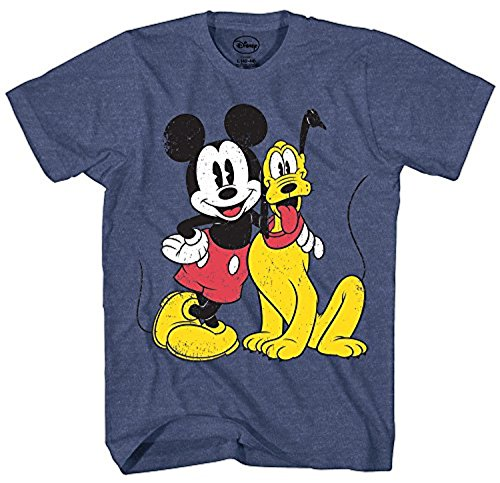 Mickey Mouse & Pluto Classic Distressed Vintage Dog Disney World Disneyland Funny Mens Adult Graphic Tee T-Shirt (3XL) -