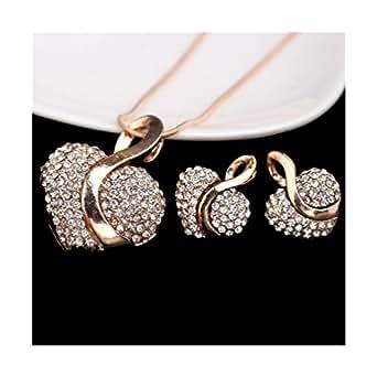 Costume en forme de cœur Or et Strass-Forme Coeur-Boucles d'oreilles et le collier Set