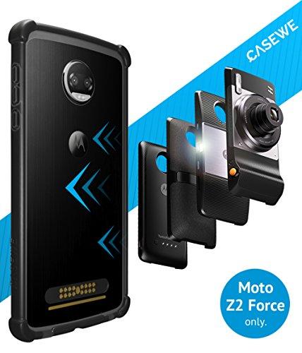 CaseWe - Motorola Moto Z2 Force Hülle Bumper Case Schutzhülle / Kompatibel mit allen Moto Mods - Komplett Matt Schwarz