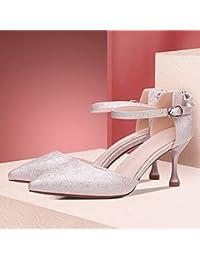 Jqdyl Tacones Versión Coreana del Verano de los nuevos Zapatos de Tacón Alto con los Zapatos de Las Señoras de...
