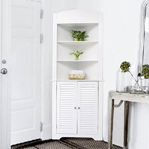 Elegant Life Carver® White Tall Living Room Corner Unit Display Shelves And Storage  Cabinet Kitchen Cabinetu0026Cupboard Bathroom Storage Part 25