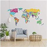 Wandtattoo Wandfolie Weltkarte Landkarte Globus für Wohnzimmer Schlafzimmer Kinderzimmer (Schrift WW05)