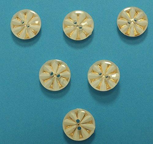 Set 6Tasten: rund weiß/gold 13mm (N ° 3). Neuware, ideal für Ihre Basteln, Scrapbooking, Kurzwaren, Couture, Tri