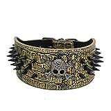 Fully Hundehalsband Halsband Nieten Totenkopf PU Leder Halskette Kragen Punk D-Ringe Verstellbar Golden Retriever Labrador Huskie (L (Halsumfang: 53-61cm/20.86-24.01
