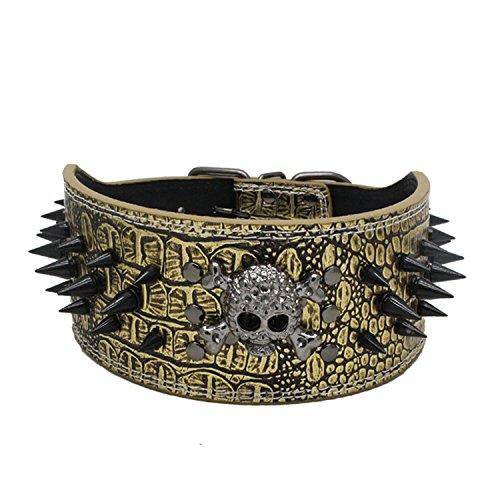 Completamente Spikes borchie PU cane cucciolo sicurezza collari choke D-Ring ajustable Skull Golden Retriever Huskie largo 5cm