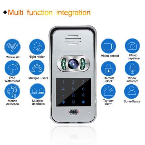 Intercom Door Bell,Kasi Wireless WIFI Remote Video Camera Phone Visual Doorbell Home Security, Silver