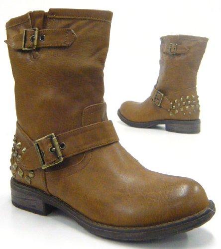 Sexy Damen Nieten Stiefelette Robuste Damen Stiefel Biker Boots Braun
