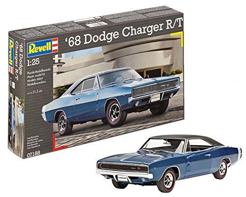 Revell 07188 1968 Dodge Charger (2in1) im Maßstab 1:25 12 Automodell, originalgetreuer Modellbausatz für Fortgeschrittene