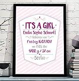 IT'S A GIRL - personalisiertes Bild zur Geburtsanzeige Mädchen Kind Baby mit Name und Geburtsdaten – perfektes Geschenk zur Geburt Taufe Geburtstag - Rahmen optional