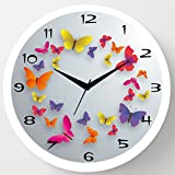 #6: Cartoonpur 11 inches Analog Butterfly Silent/Sweeping Movement Plastic Wall Clock with Glass