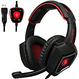 2016 New SADES Spirit Wolf 7.1 Surround Sound Stereo USB Gaming Headset Headband Headphones with Mic Over-the-Ear Noise Isolating Volume Control LED Light For PC Gamers Black Blue spirit wolf usb red spirit wolf usb red