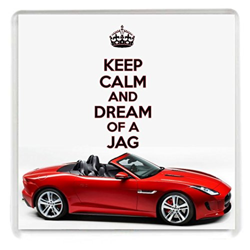 keep-calm-and-dream-of-a-jag-drinks-coaster-with-an-image-of-a-red-jaguar-f-type-sports-car-from-our