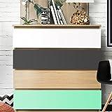 Wandora W1416 Möbelfolie 3-farbig passend für IKEA MALM Kommode Farbset 4: Mint, dunkelgrau, weiß