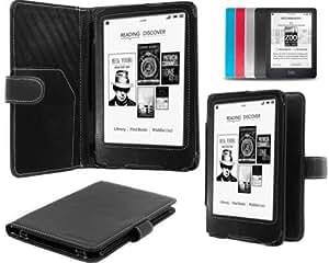 """NAVITECH - Housse à rabat en cuir bycast noir avec fontion réveil/sommeil pour Kobo Mini 5""""pouces E-reader"""
