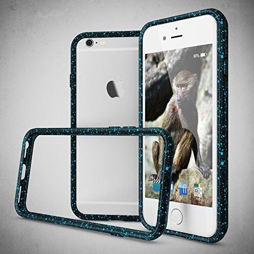 iPhone 6 6S Sternenhimmel Bumper von NICA, Dünner Rutschfester 3D Silikon Rahmen Soft & Ultra-Slim Protector, Stoßfester Smart-Phone Schutz-Rand Gel Gummi Rugged für Apple iPhone 6S 6, Farbe:Blau Türkis