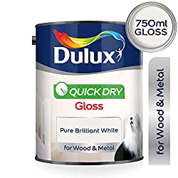 Dulux Quick Dry Gloss Paint For Wood And Metal - Pure Brilliant White 750Ml
