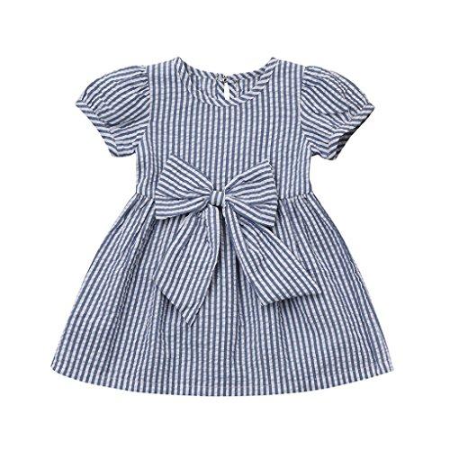 nkind Baby Mädchen Prinzessin Streifen Sleeveless Kleid für MädchenKurzärmliges Kleid mit Schleifenmuster und gestreiftem Druck (Size:18 Monate, Blau) (Sie Alle Feiertage In Ordnung)